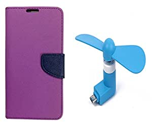 Novo Style Wallet Case Cover For Motorola Moto G (Gen 2) Purple + Smallest Mobile Fan Android Smart Phone