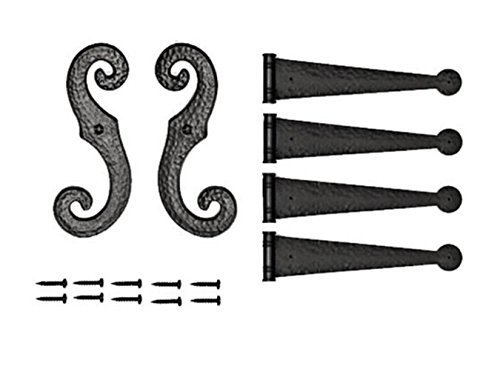Decorative Vinyl Shutter Hinges and S Holdback Hooks for Exterior Decorative Shutters, Black (Set) by Perfect Shutters, Inc.