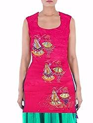 Arham Printed Cotton Pink Kurti Material