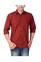 Anry Men's Casual Shirts (MRN4100_Maroon_S)