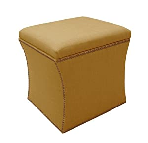 Skyline Furniture Nail Button Storage Ottoman in Linen, French Yellow