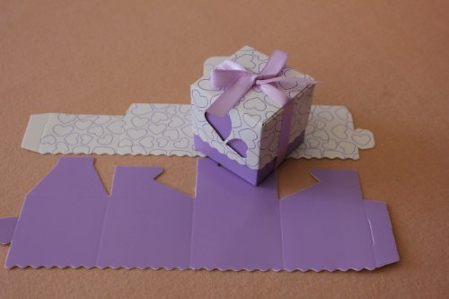 Sunvary 50Pcs Love Heart Chocolate Candy Boxes Packaging Wedding Favors Cheap Wedding Decorations Gifts Accessories XTH021 (Purple)