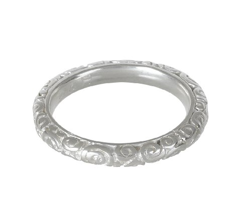 Dower  &  Hall, Spiral - Solid Sterling Silver Carved Band - Size L