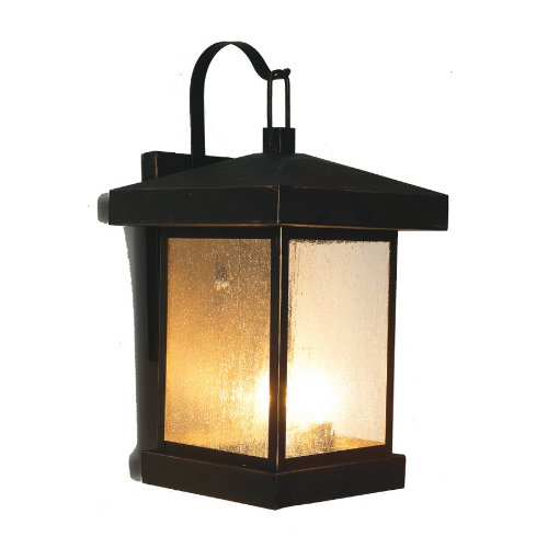 Reviews Bel Air Lighting LED Outdoor Wall Light Weathered Bronze Finish Seeded Glass ENERGY STAR ...