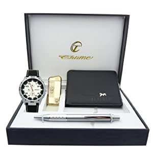 Montre Concept - Gift Box CBP - lighter - wallet - pen - men's Analog Watch - Black Synthetic Strap / Bracelet - Round Dial White Background