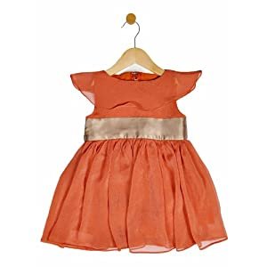girls party dress, orange & brown, 2-3 y