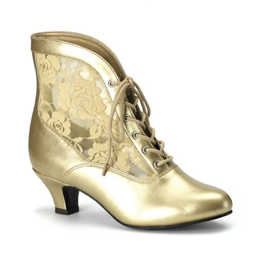 2 Inch Sexy Victorian Costume Accessory Womens Ankle Boots Lace Accent Gold