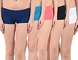 Mynte Women's Sports Shorts (MEWIWCMBP-105-104-102-100-101, Blue, Pink, Black, White, , Free Size, Pack of 5)