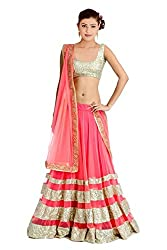 Georgette and Net Party Wear Lehenga Choli in Pink and Silver Colour