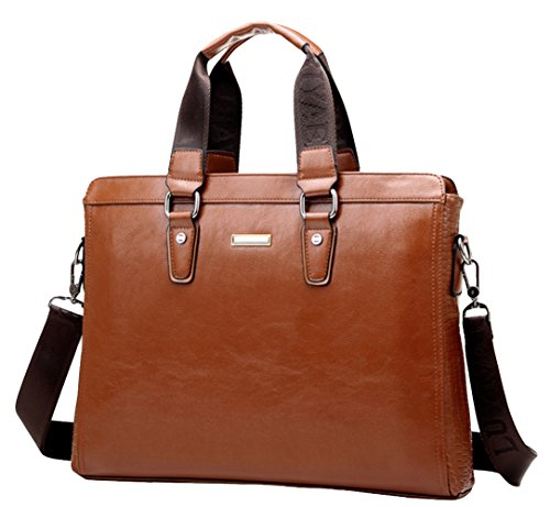 Luwe Men'S Business Leather Multi-Function Briefcase Clutch Handbag Brown