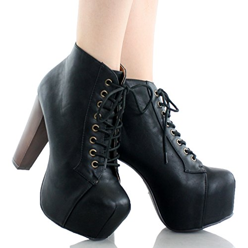 Speed Limit 98 ROSA Designer Inspired Lita Style Chunky High Heel Lace Up Ankle Boot Bootie, Black P..