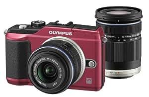 Olympus E-PL2 Systemkamera (12 Megapixel, 7,6 cm (3 Zoll) Display, bildstabilisiert) rot mit 14-42 mm & 40-150 mm Objektiven schwarz
