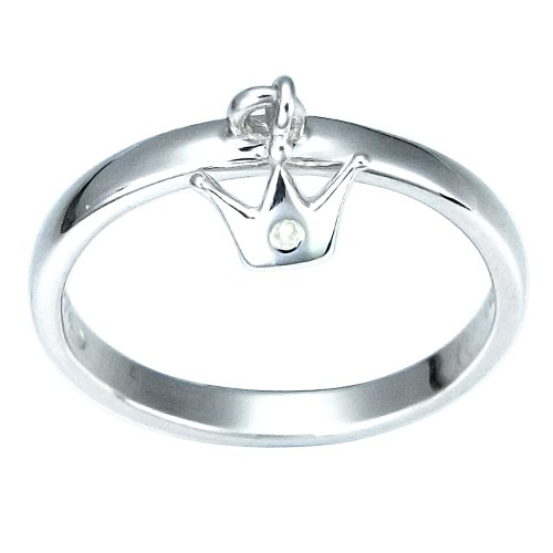 Children's Sterling Silver Diamond Accent Crown Dangle Ring, Size 4
