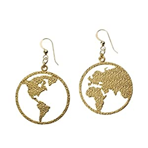 Peace on Earth Gold Dipped Earrings on French Hooks
