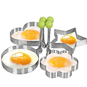 DaySeventh Stainless Steel Fried Egg Shaper Pancake Mould Mold Kitchen Cooking Tools Home Kitchen Dining & Bar (B, Silver)