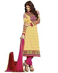 Admyrin Women Yellow Cambric Cotton Dress Material