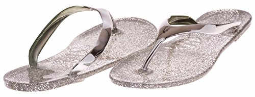 JouJou Ladies Thong Jelly Sandal Size 9 / 10 (Silver) - (Multiple Colors and Sizes Available) Sequined Espadrille