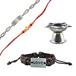 Alpha Man Love For My Brother Rakhi Set, Combo of Leather Bracelet, Leather Bracelet, Rakhi and Diya