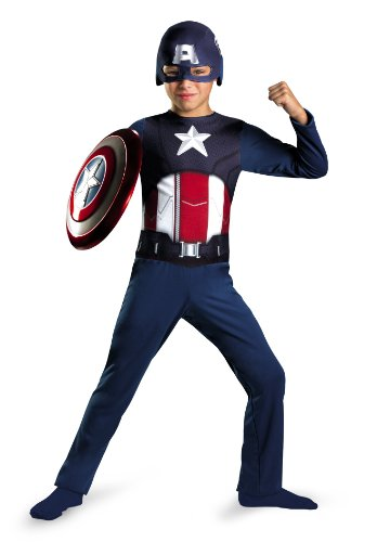 Avengers Captain America Classic Costume, Red/White/Blue, Small