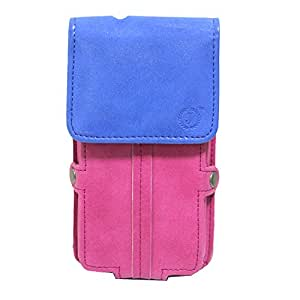 Jo Jo A6 Nillofer Series Leather Pouch Holster Case For Gionee F103 Dark Blue Pink