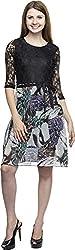 Dashy Club Women's Regular Fit Dress (VV-908-AC-FLORAL-PURPLE DRESS, Black and Purple, M)