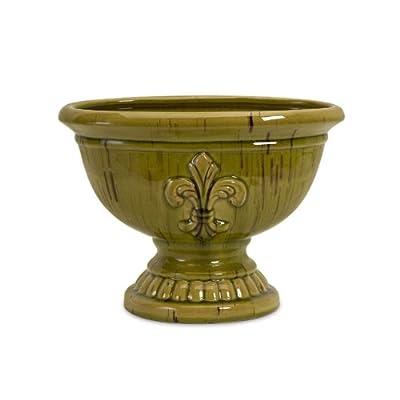 "Amazon.com - 14"" Charming Olive Green Fleur-de-Lis Adorned Pedestal"