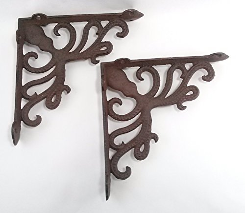 Aunt Chris' Products - Heavy Cast Iron - All-Purpose - Octopus Shelf Bracket - (Lot/Set of2) - Bronze Rustic Color Finish - Nautical Design - Indoor or Outdoor Use