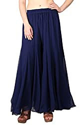 Shararat Womens Flared Pants (9131_Blue_Free Size)