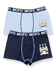 2 Pack Cotton Rich Manchester City Football Club Trunks