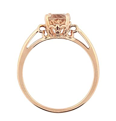 Oval Solitare 1ct Moragnite 14K Rose Gold Promise Ring