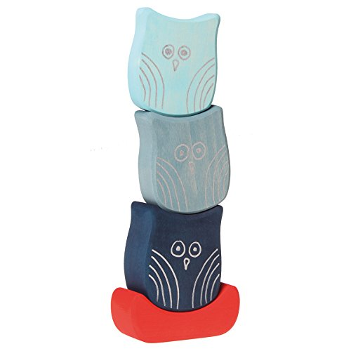 Grimm's Balancing Owls - Wooden Baby Blocks for Stacking, Building & Creative Play, Sea Owls - 1
