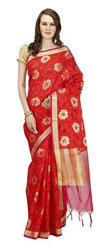 Banarasi-Silk-Works-Womens-Cotton-Banarasi-Saree-Orange