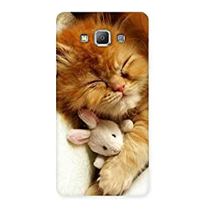 Sleeping Cat with Bunny Multicolor Back Case Cover for Galaxy A7