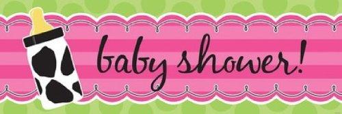 Creative Converting Baby Girl Cow Print Giant Baby Shower Banner