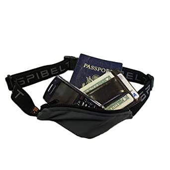Runner's Waist Pack - Athlete Belt Pouch Holds Small Personal Items - Blue With Black Zipper By Spibelt