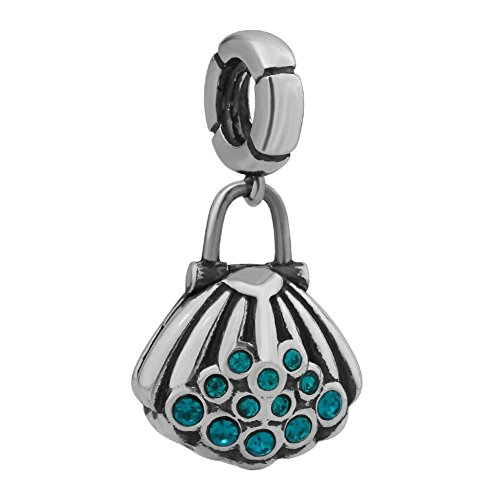 Blue Crystal Cz Seashell Dangle Spacer Beads 925 Sterling Silver Fit Pandora Charms