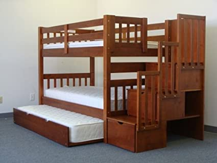 Bedz King Twin Over Twin Stairway Bunk Bed with Twin Trundle reviews