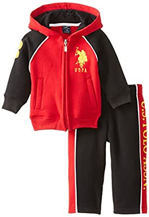 U.S. Polo Assn. Babys Full Zip Fleece Hoodie and Pant Set, Engine Red, 12 Months