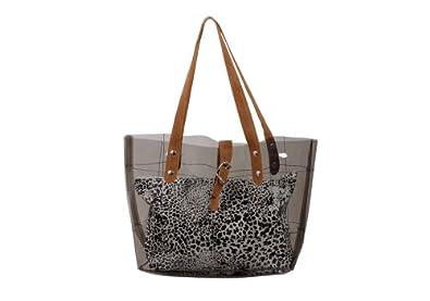 Bundle Monster PVC Vinyl Clear Transparent Carrier Beach Hand Carry Bag + Cheetah Print Cosmetic Tote - SMOKEY ASH GRAY