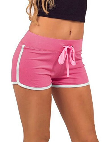 Women-Elastic-Waist-Drawstring-Piped-Running-Shorts