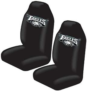set of 2 nfl licensed universal fit front bucket seat cover philadelphia eagles. Black Bedroom Furniture Sets. Home Design Ideas