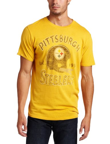 NFL Men's Pittsburgh Steelers Heather Vintage Short Sleeve Crew (Mustard, Large)