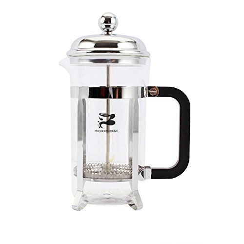French Coffee Press & Tea Maker Infuser, 6 Coffee Cups, unique Filter Screen, Chrome glass pot (Cafeteria Coffee Maker compare prices)