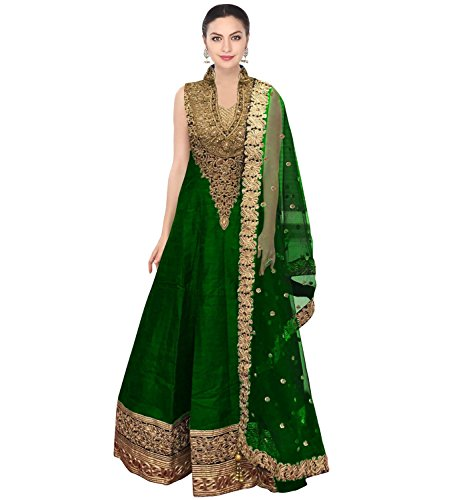 FabTexo-Green-Raw-silk-long-Dress-for-womenSemi-Stitched