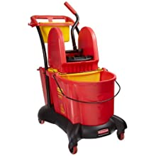 "Rubbermaid Commercial FG777700 WaveBrake Down Press Mopping Trolley, 8.75 Gallon Capacity, 28.9"" Length x 18.2"" Width x 38.6"" Height, Red"