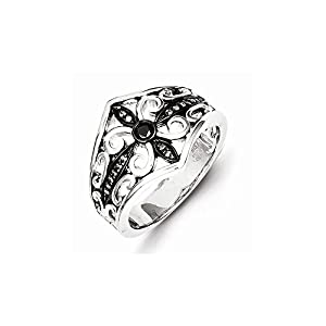 Sterling Silver White & Black Diamond Black Rhodium-plated Ring, Size 7, (0.1 ctw, I1-I2 Clarity)
