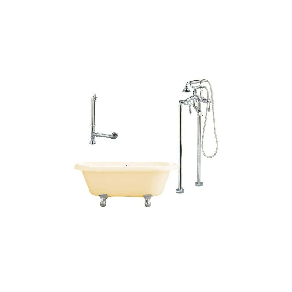 Portsmouth 60 Dual Tub with Floor Mount Faucet Faucet Finish Polished Chrome, Tub Color Bisque