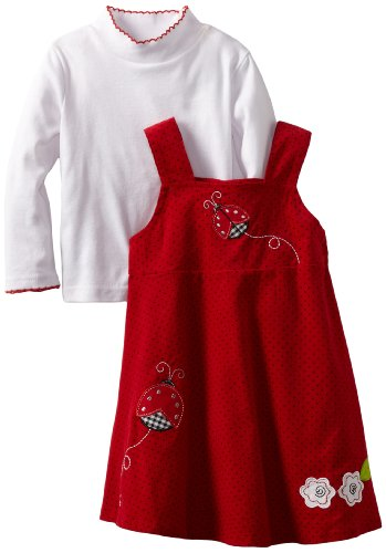 Blueberi Boulevard Baby-girls Infant Printed Corduroy Jumper With Top, Red, 18 Months