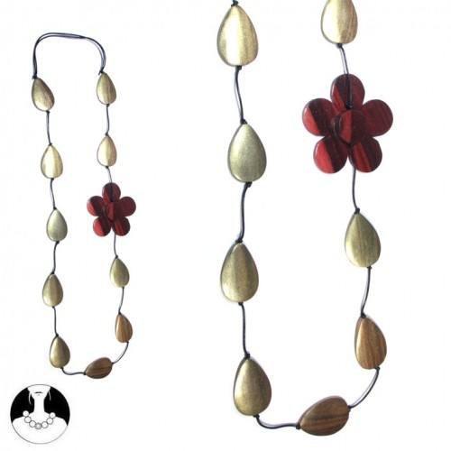 sg paris women necklace long necklace 106 cm gold wood