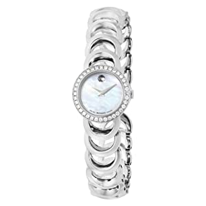 Movado Women's 606252 Rondiro Stainless-Steel with Diamonds white Round Dial Watch